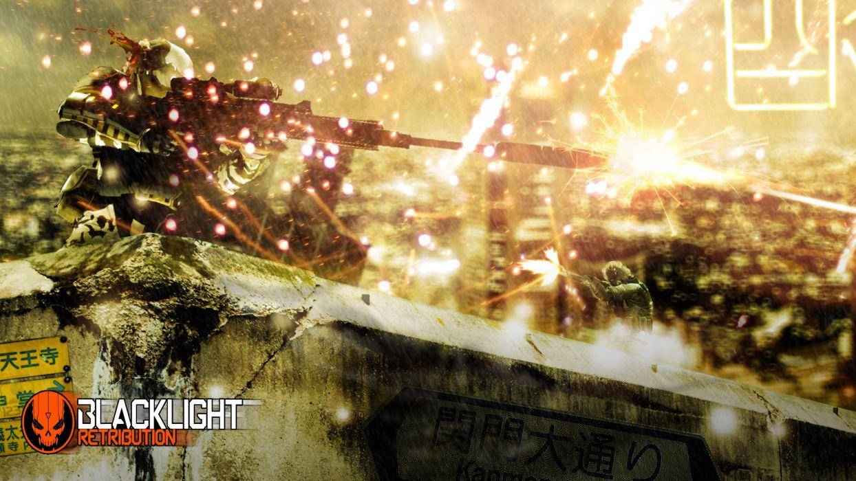 BLACKLIGHT RETRIBUTION sci-fi game warrior armor weapon gun battle blood    g wallpaper