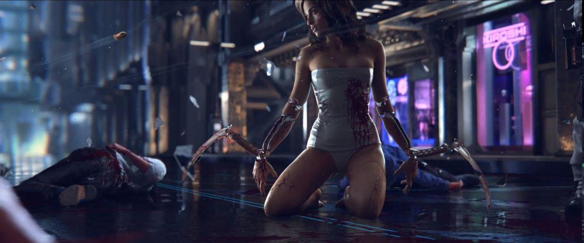 CYBERPUNK sci-fi game robot cyborg sexy babe blood g wallpaper