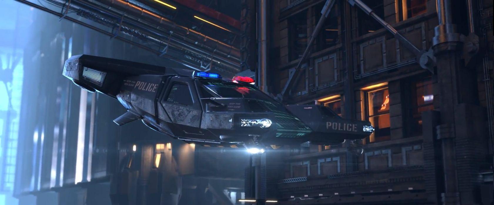 CYBERPUNK sci-fi game spaceship police      g wallpaper
