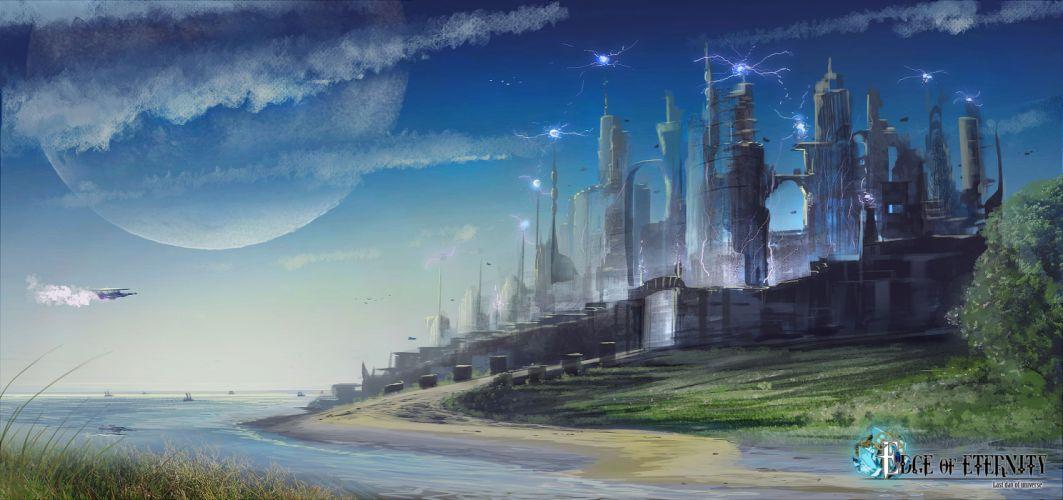 Edge Of Eternity fantasy sci-fi game city spaceship y wallpaper