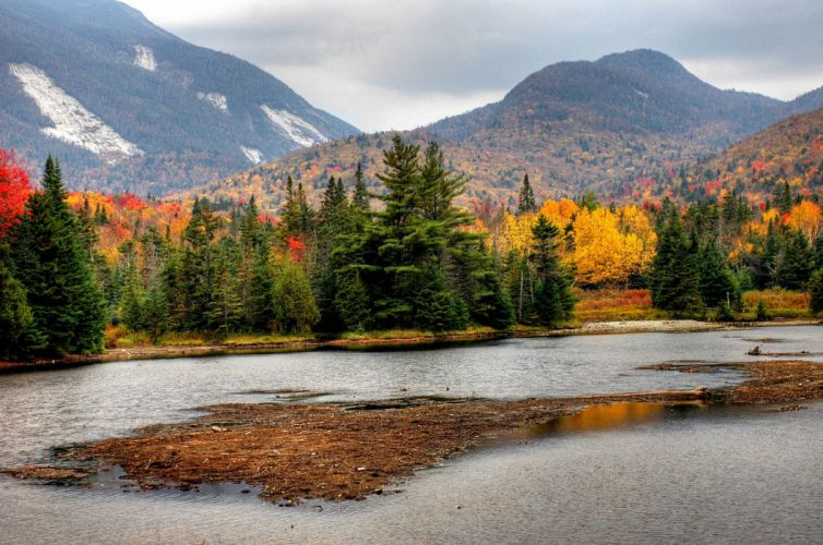 autumn the mountains the trees the river landscape h wallpaper
