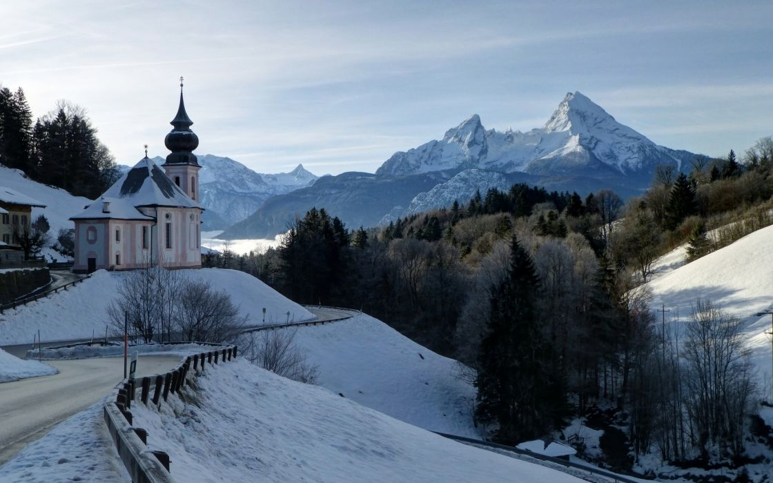 Berchtesgaden Bavaria Germany Bavarian Alps Mount Watzmann winter road forest landscape mountains Alps Church wallpaper