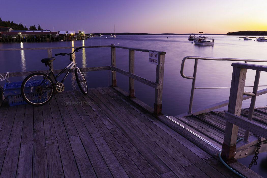 bike wharf pier bay sunset wallpaper