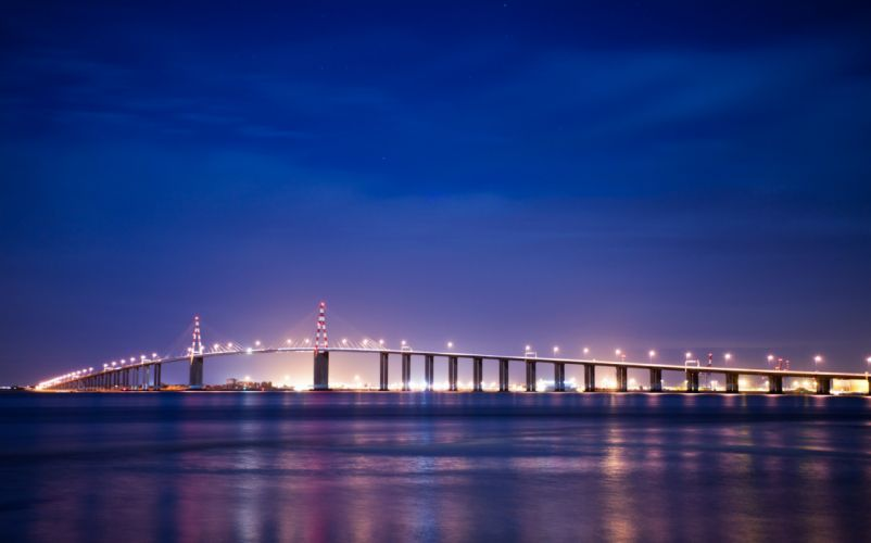bridge night france brittany lights wallpaper