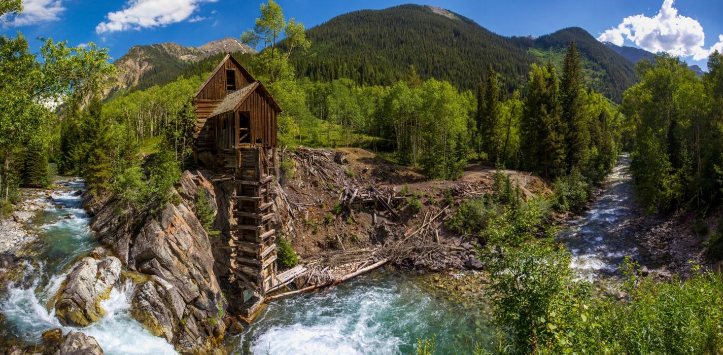 Crystal Colorado A Water Mill River Forest Trees Mountains