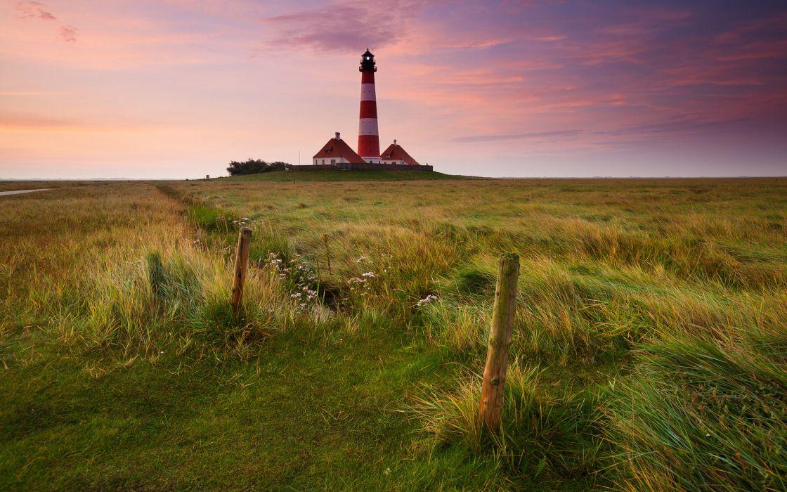 lighthouse field sunset landscape wallpaper