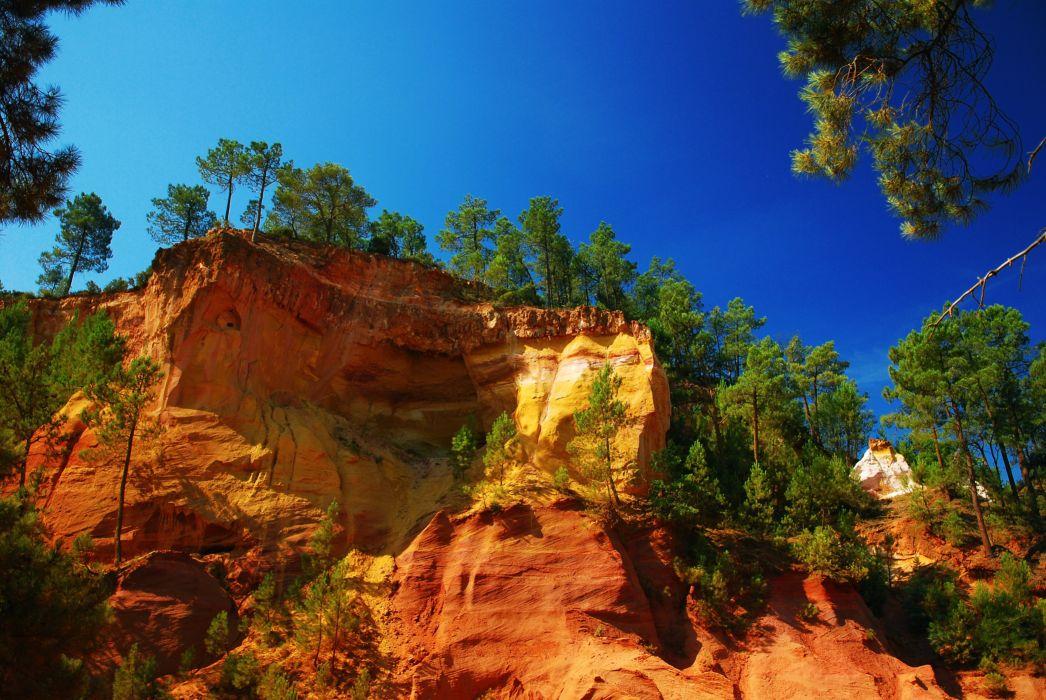 rocks trees sky landscape wallpaper