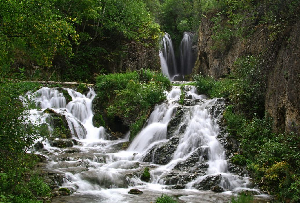 Roughlock Falls Spearfish Canyon South Dakota cascade waterfall wallpaper
