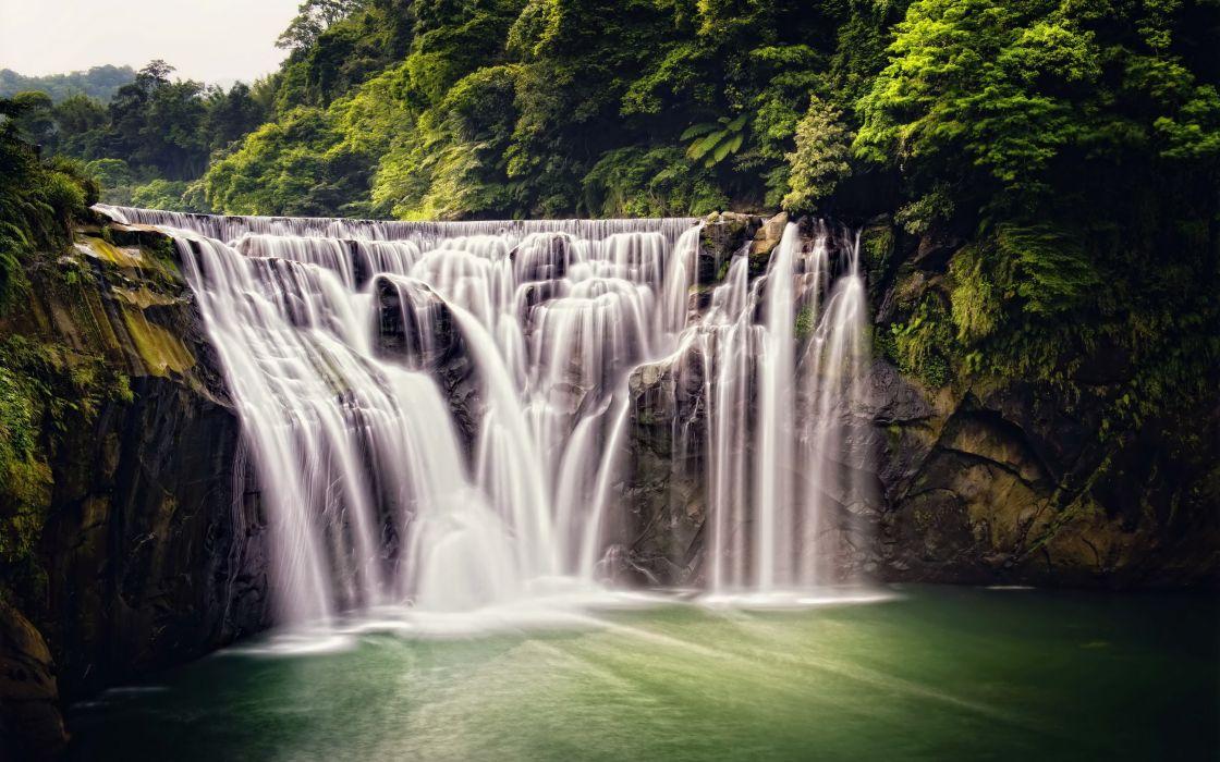 shifen waterfall forest nature waterfall taiwan wallpaper
