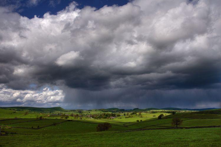 summer meadow clouds wallpaper