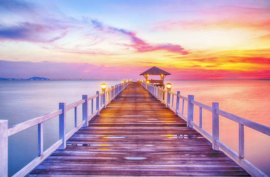 sunset sea sun landscape wallpaper