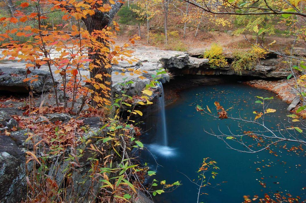 autumn trees pond waterfall landscape wallpaper