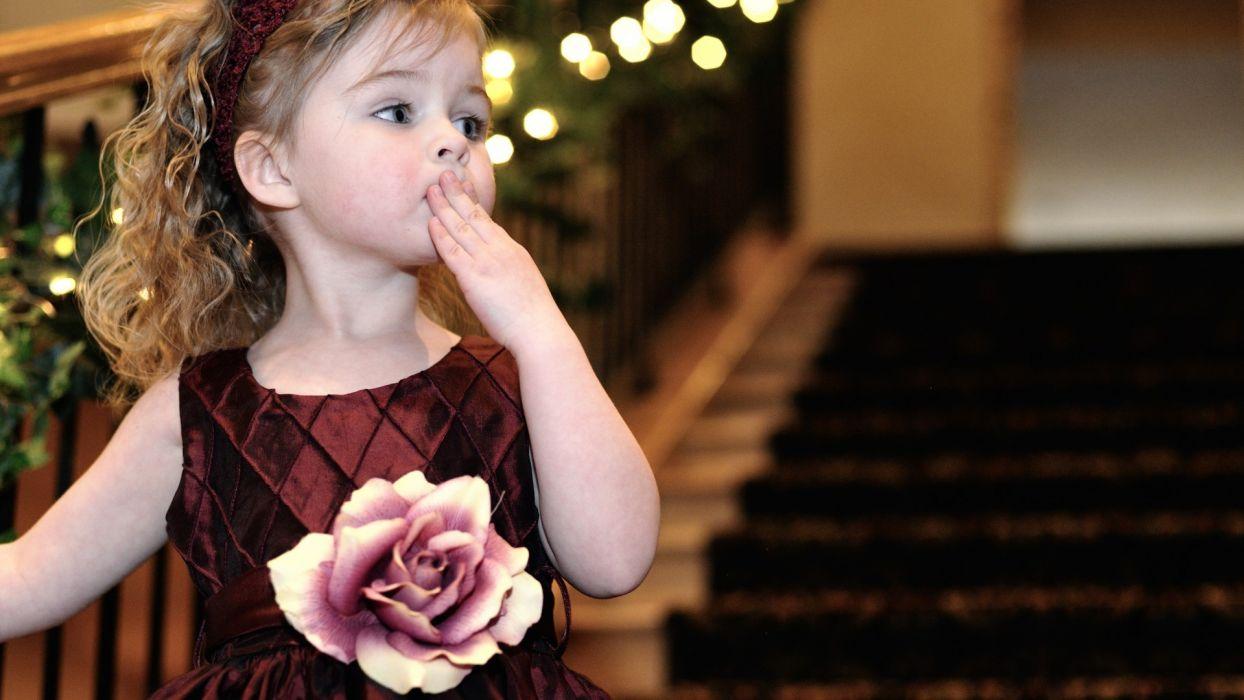 children girl dress rose flower dress hair kiss ladder wallpaper