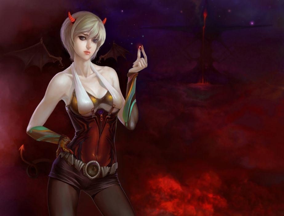 Demons Blonde girl Fantasy Girls wallpaper