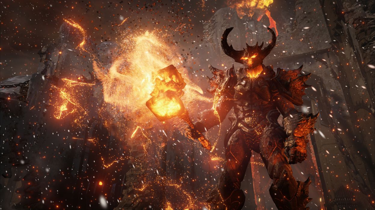 Demons Unreal Engine 4 Horns War hammer Games 3D Graphics Fantasy wallpaper