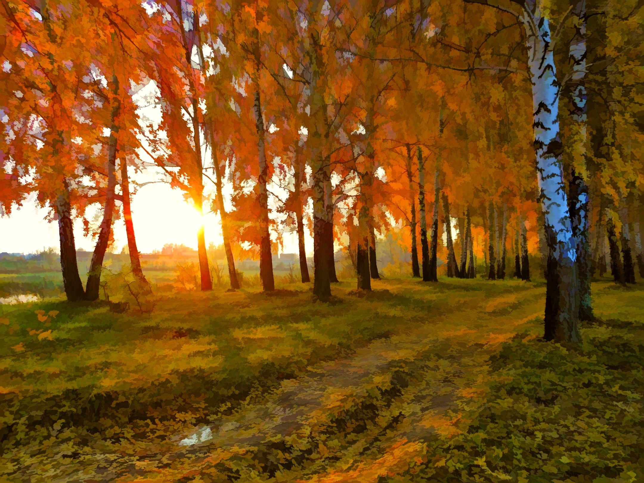 Autumn Landscape Drawing Nature Landscape Autumn