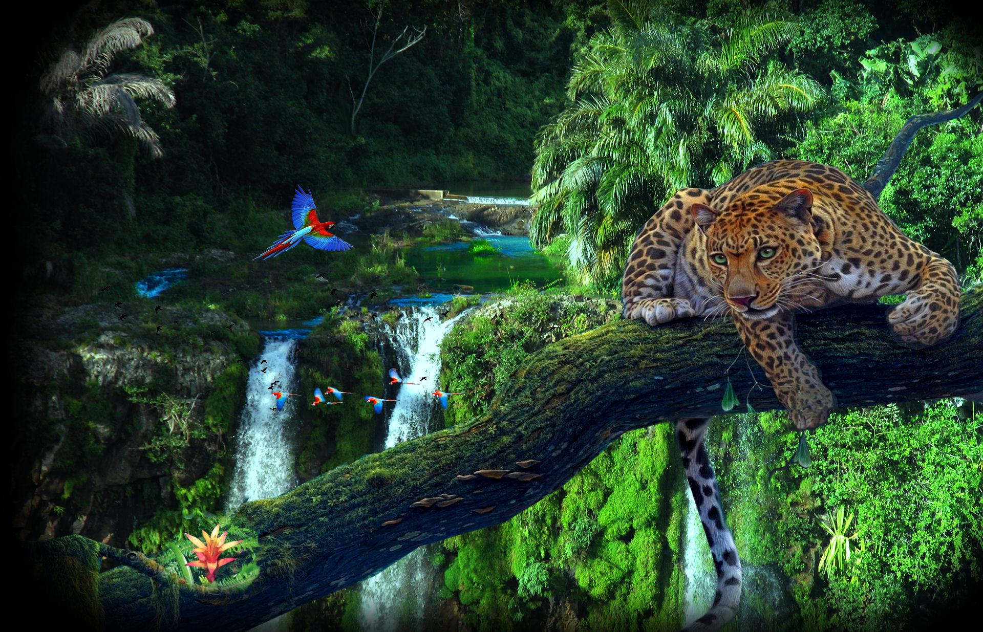 Jungle wood leopard pa...