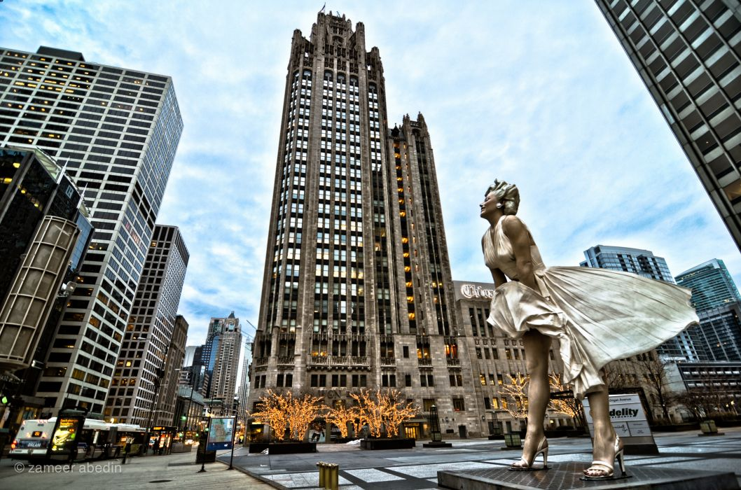 illinois skyscrapers chicago Marilyn Monroe wallpaper