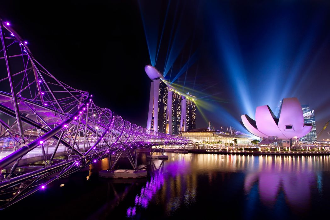 singapore city night lights wallpaper