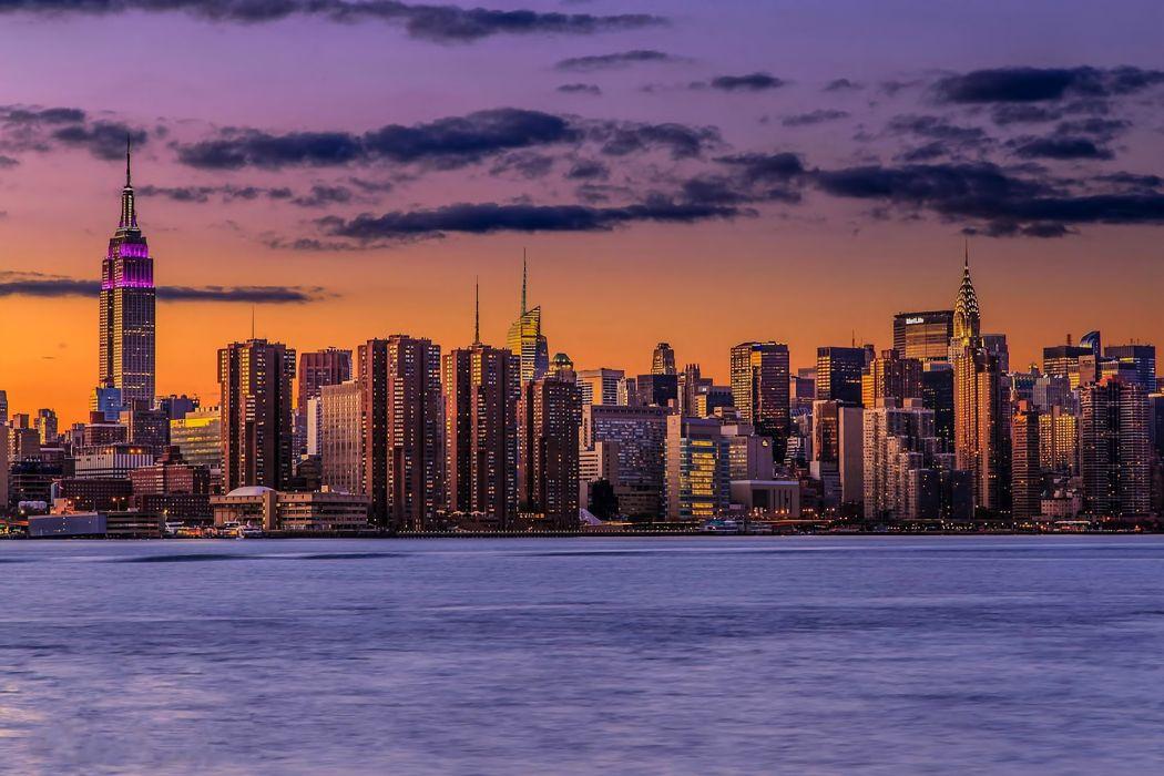 sunset lights New York City Manhattan wallpaper