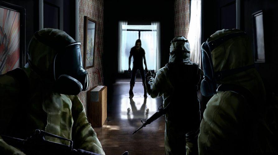 Zombie Soldiers Gas mask dark wallpaper