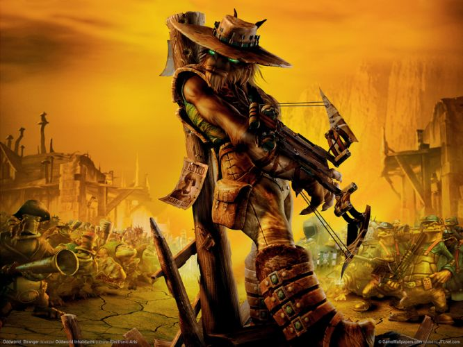ODDWORLD sci-fi game alien warrior g wallpaper