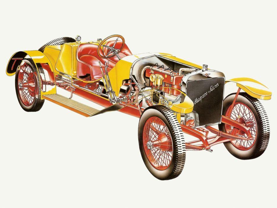 1911 Hispano Suiza Alfonso XIII retro interior engine      g wallpaper