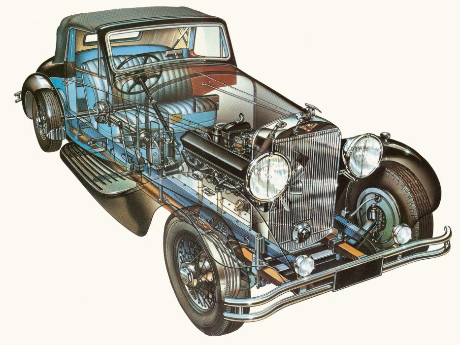 1931 Hispano Suiza J12 T68 Coupe Retro Luxury Interior Engine F Wallpaper