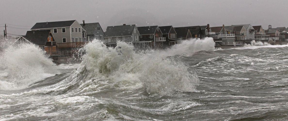 HURRICANE SANDY storm disaster weather clouds ocean waves house building g wallpaper