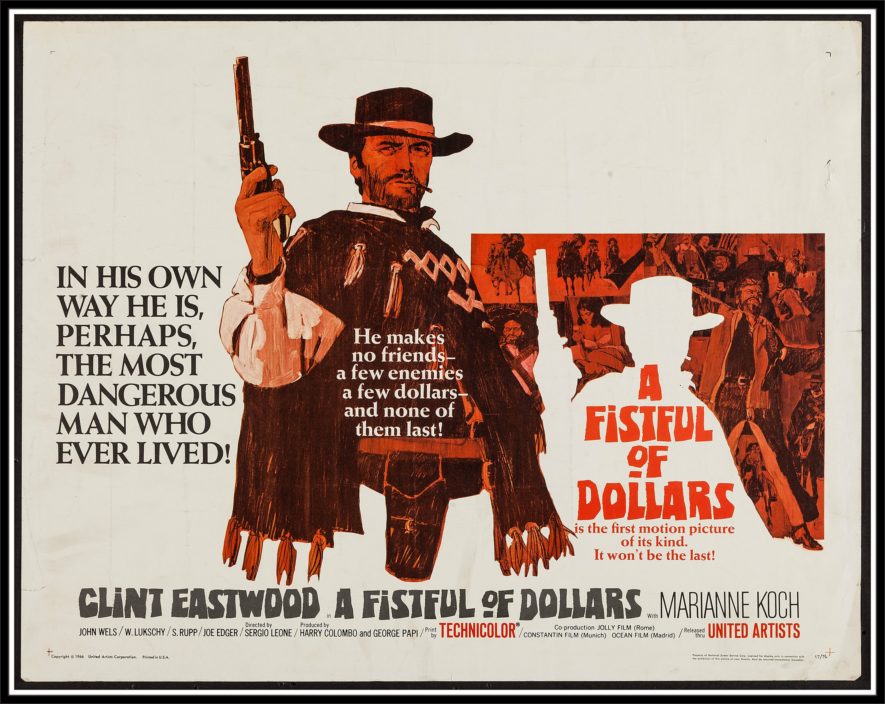 Clint Eastwood Cowboy Wallpaper: A FISTFUL OF DOLLARS Western Clint Eastwood Poster F