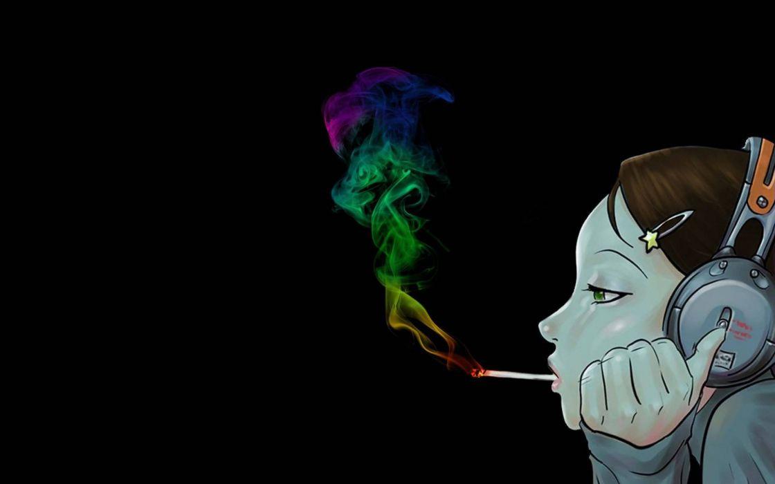 marijuana weed 420 ganja smoke headphones     h wallpaper