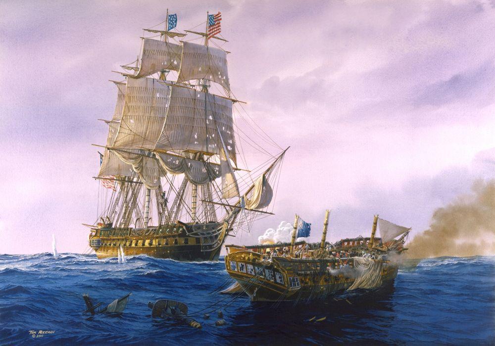 Art sea battle ships sailing sea waves sky clouds painting T_Freemen military   h wallpaper