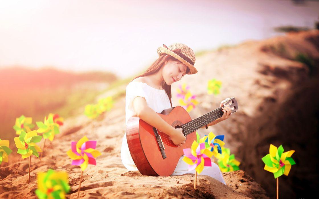 Asian Hat Guitar Girl wallpaper