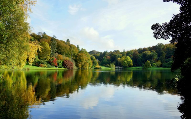 autumn lake trees bridge landscape wallpaper