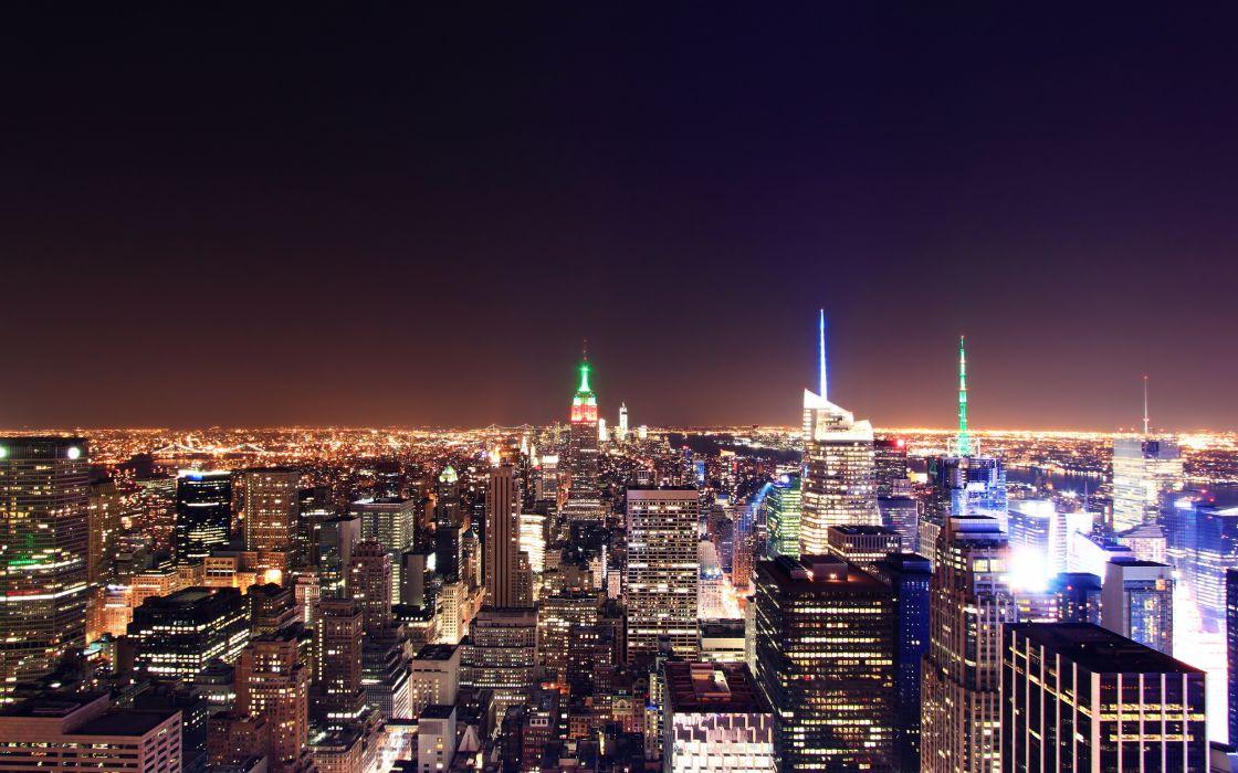USA Houses Night New York City Megapolis Cities wallpaper