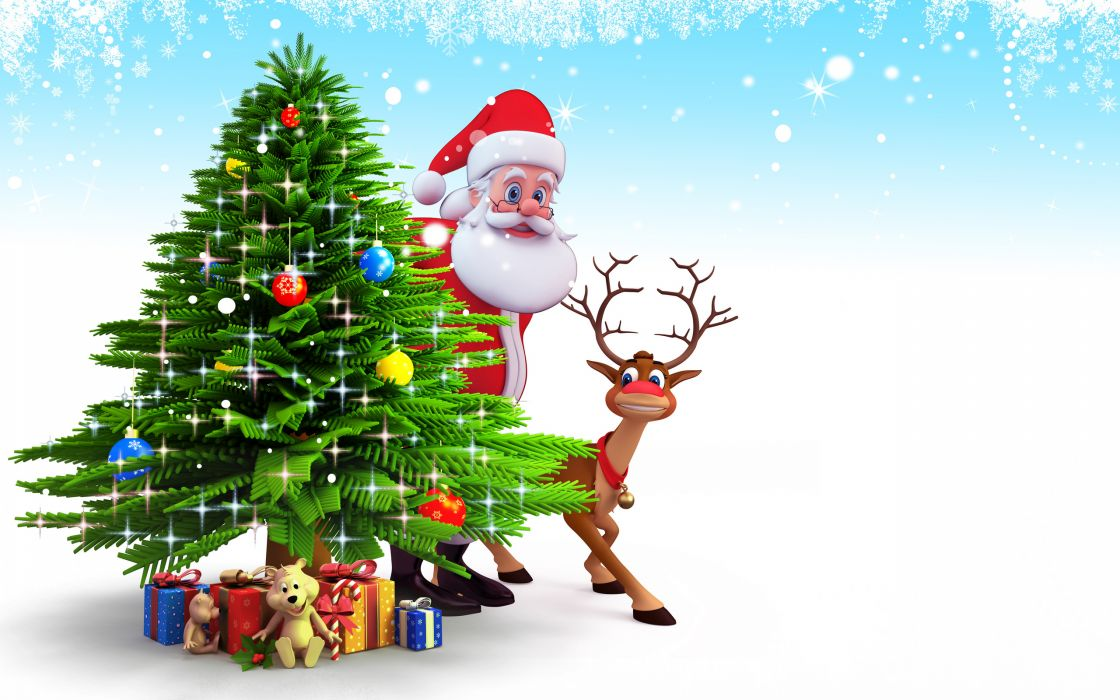 tree new year santa claus christmas reindeer snow wallpaper