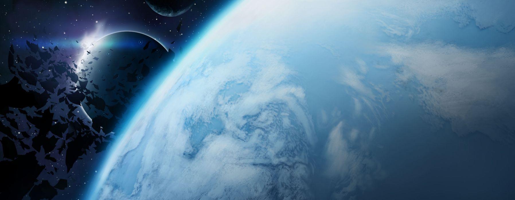 space art planet moons wallpaper