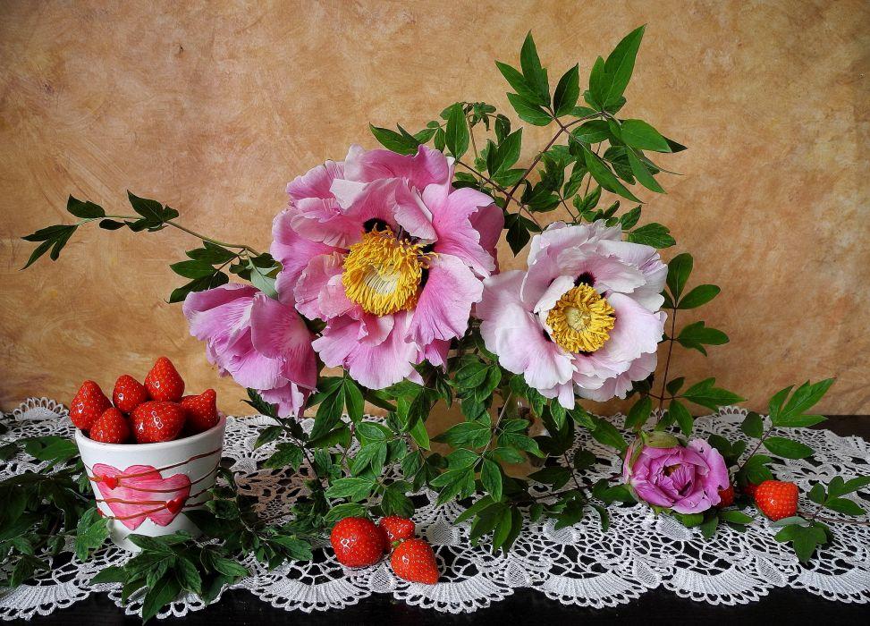 Still-life Strawberry Food wallpaper