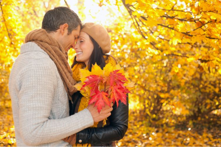Seasons Autumn Couples in love Men Sweater Maple Nature Girls wallpaper