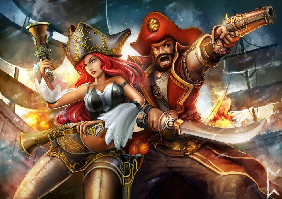 Pirates Pistols Men Hat Two Sabre Fantasy Girls wallpaper