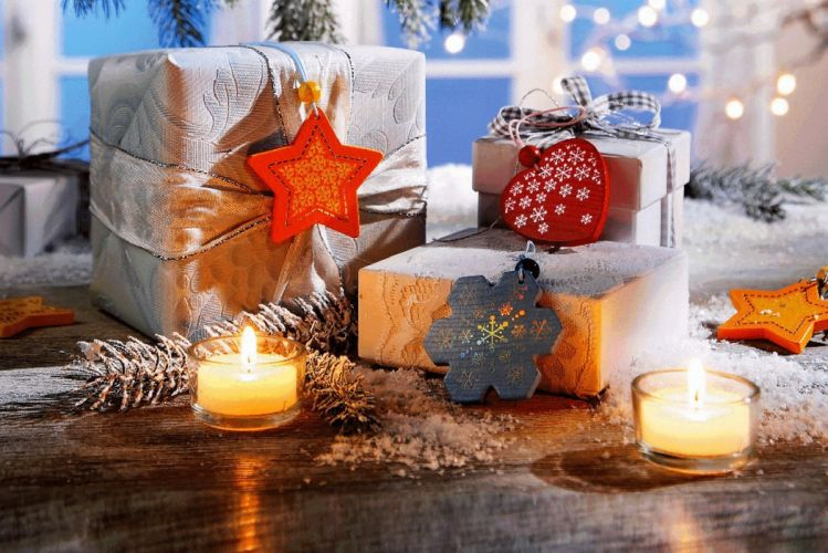 New Year Wallpapers candles christmas heart ribbon wallpaper