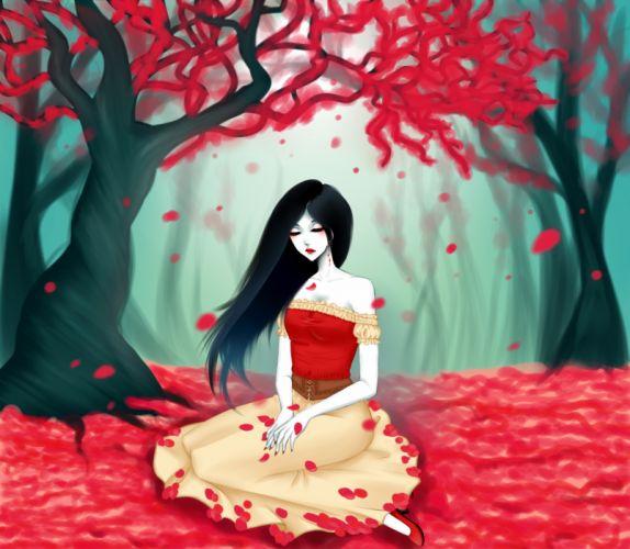 original mood Art eirintomo adventure time marceline girl leaves red tree autumn wallpaper