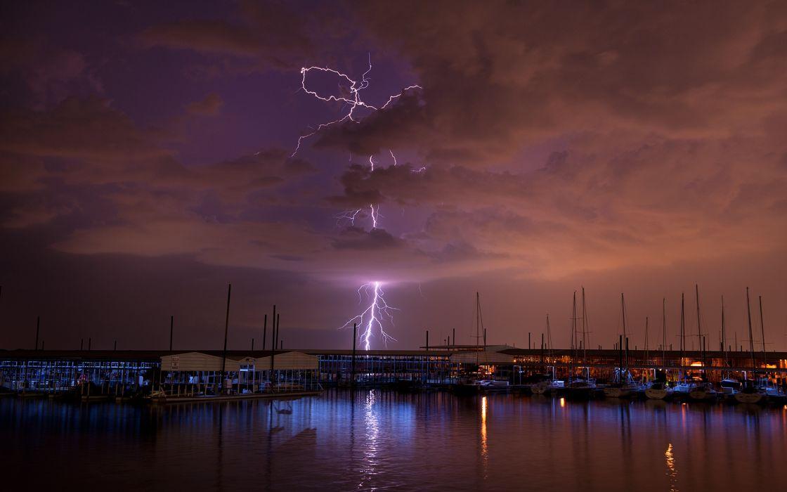 Lightning Storm Clouds Night Boats Harbor wallpaper
