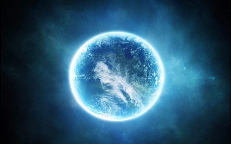 blue planet light science fiction wallpaper