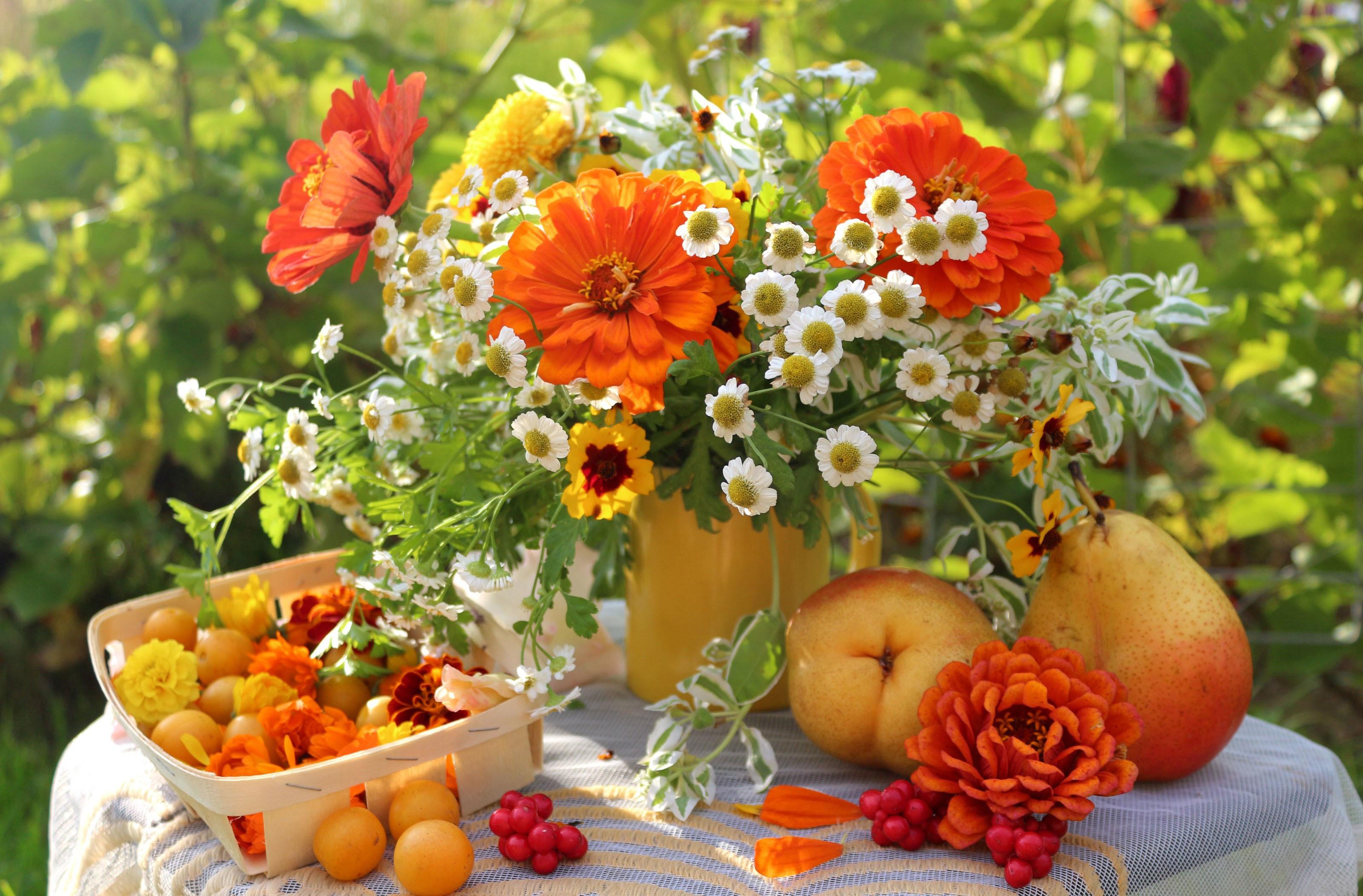 Bouquet table still life summer garden wallpaper for Bouquet de fleurs hd