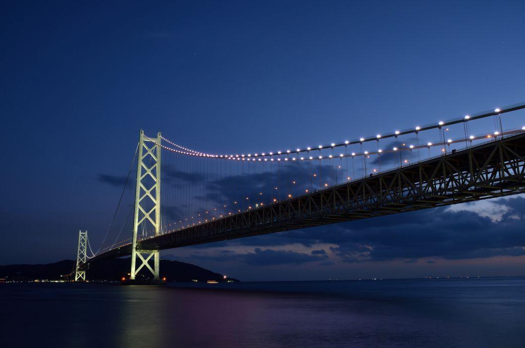 bridge japan lights lights sea wallpaper