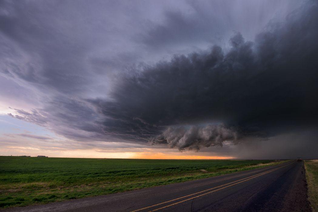 Clouds Storm Road wallpaper