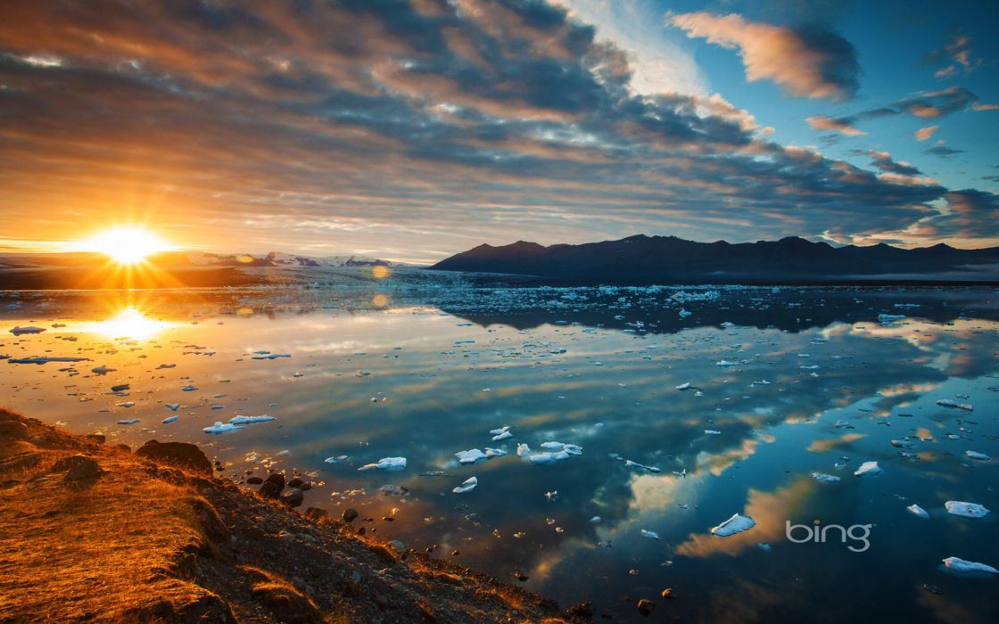 Ekyulsaurloun Lagoon Iceland lake sunset mountains wallpaper