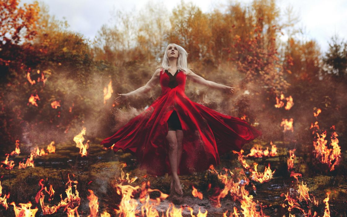 Fire Dress Girls witch fantasy emmanuelle wallpaper