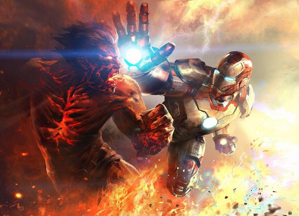 fire battle iron man 3 metal art wallpaper